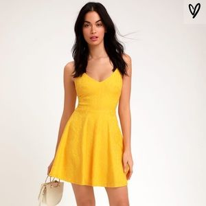 Lulu's Way With Words Lace Skater Dress